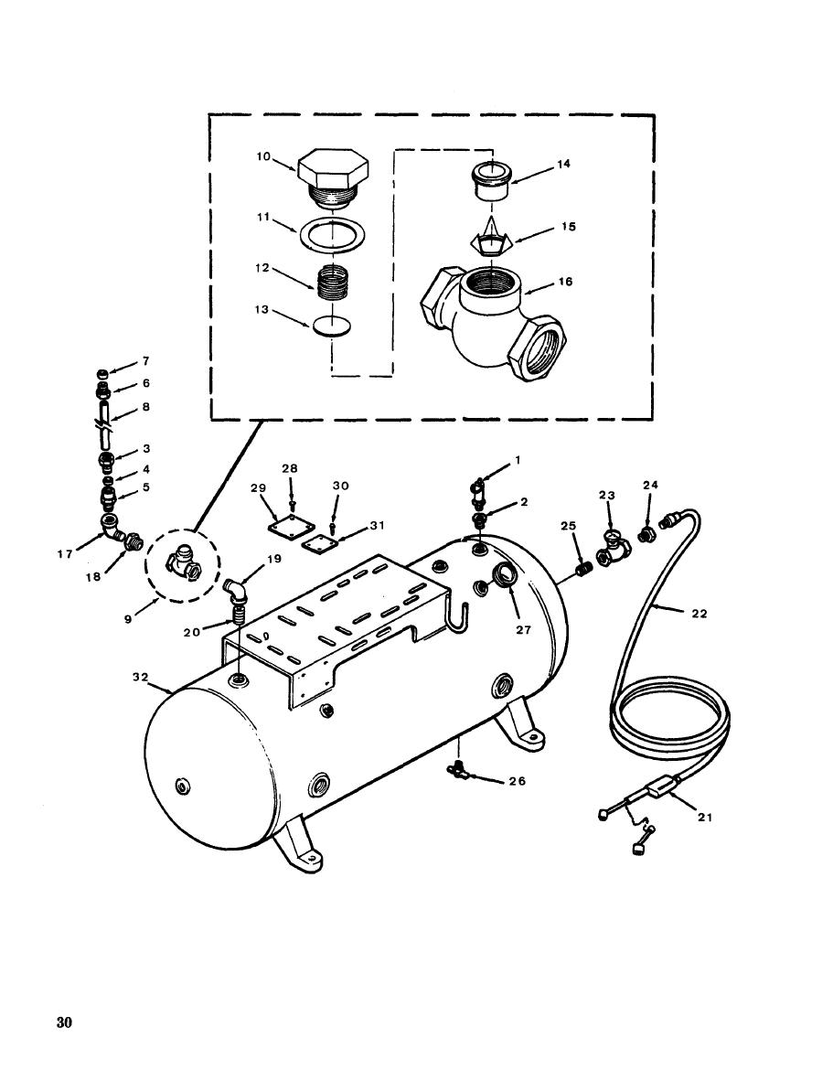 Figure 12. Air Receiver Tank and Parts.