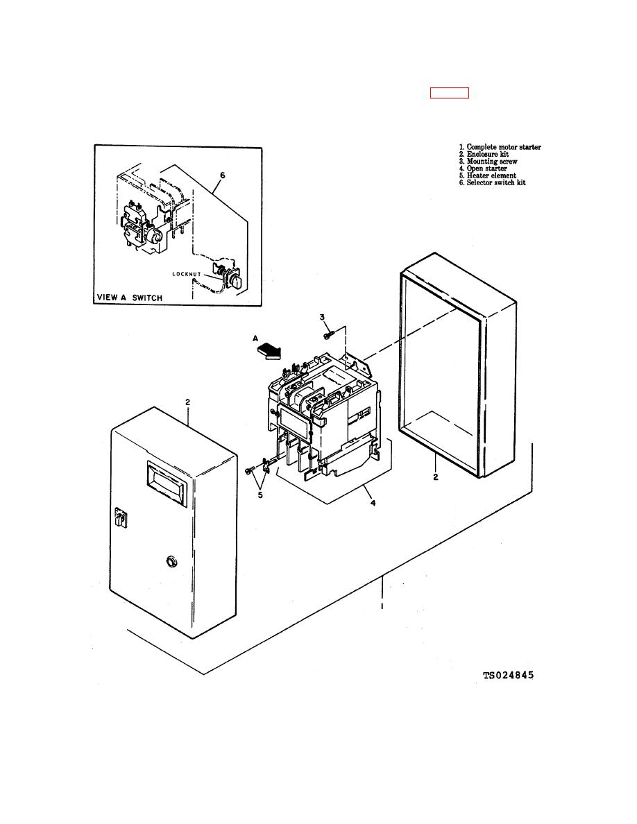 Figure 6-3. Motor starter, exploded view.