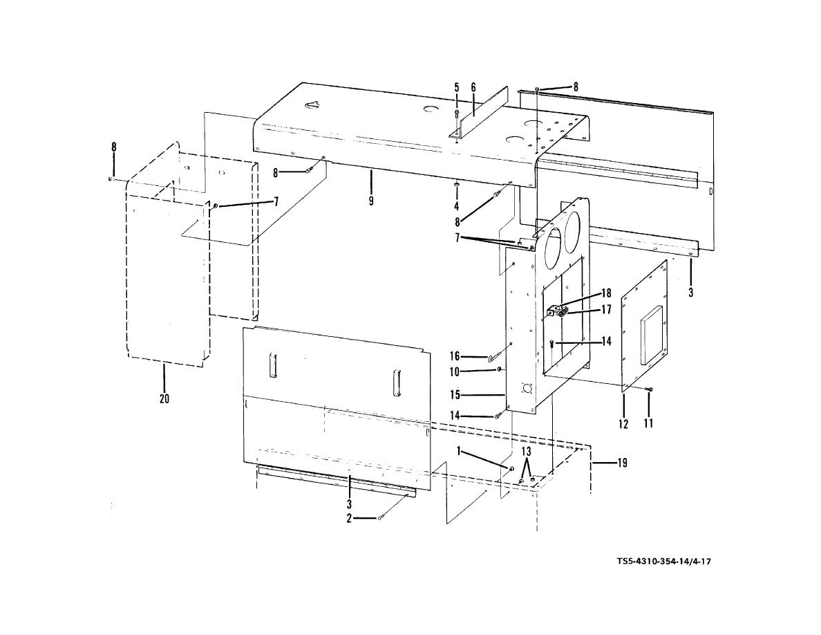 Figure 4-17. Compressor enclosure group, disassembly and