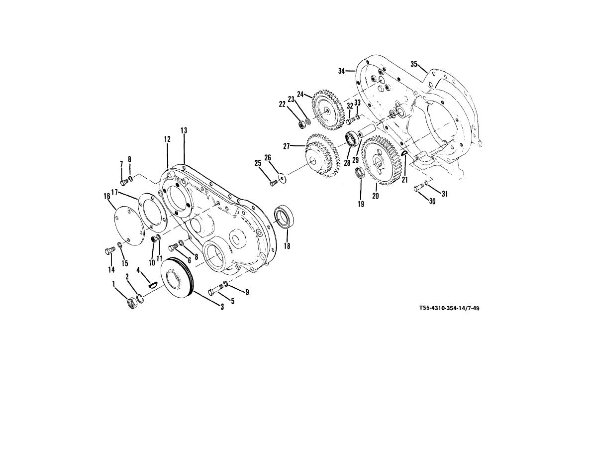Figure 7-49. Gear housing, cover, and timing gears