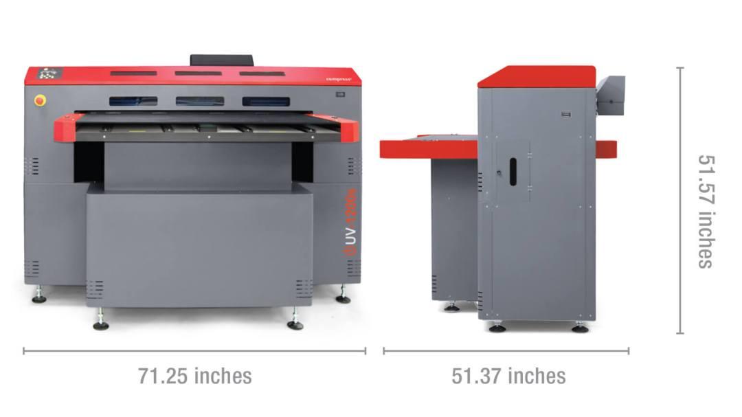 Compress iUV1200s LED UV printer dimensions