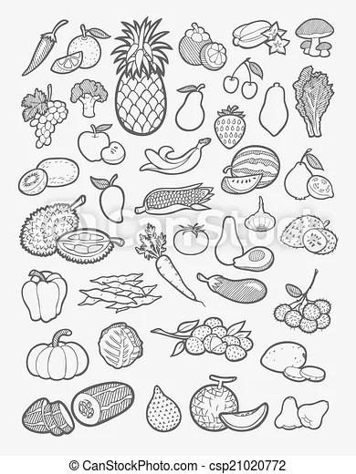 Obst- und gemüse-icons zeichnen. Set von obst und gemüse