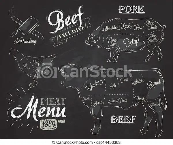 Weinlese element grafik menkarte Grafik fleisch kuh