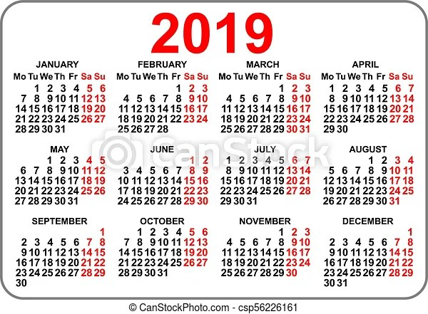 2019 compact grid pocket calendar first day monday. vector illustration.