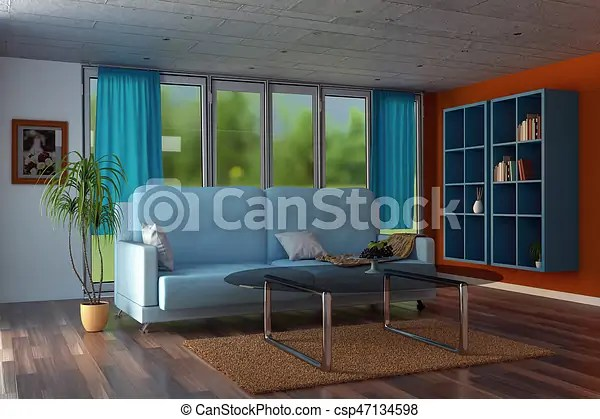 blue modern living room ideas for decorating a small apartment 3d rendering of with orange walls and curtains csp47134598