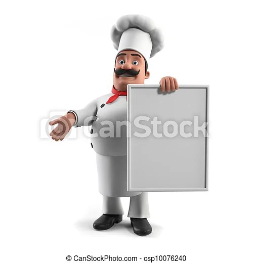 kitchen chief white trash can a chef 3d rendered illustration of