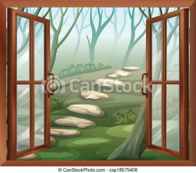 window open clipart illustration vector illustrations clip drawings drawing outside graphic flowers wooden nature graphics pathways opened mountain canstockphoto eps