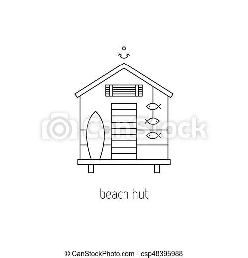 Beach hut line icon. Beach hut vector thin line icon