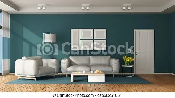 blue modern living room small with stairs ideas and white leather sofa armchair csp56261051