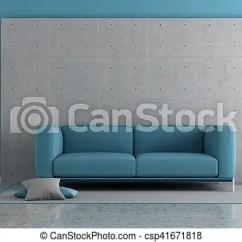 Blue Modern Living Room Corner Shelf With Concrete Panel And Sofa On Carpet 3d Csp41671818