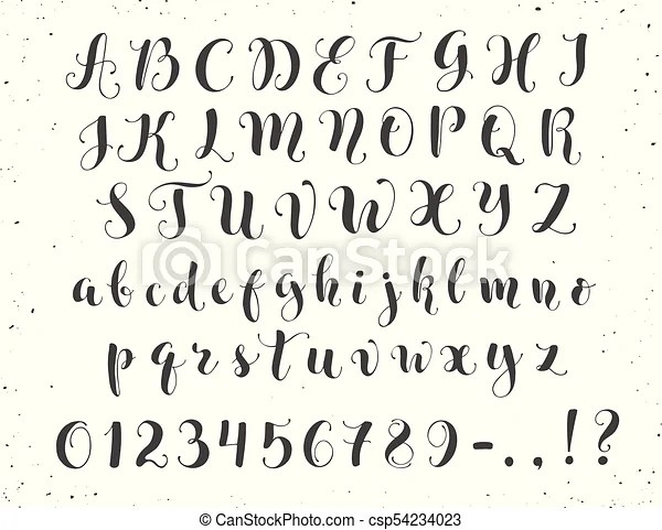 Calligraphic script letters. Elegant calligraphy letters
