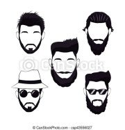 collection hipster men beard hair