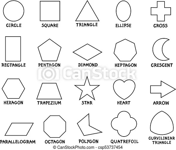 Education basic geometric shapes with captions. Black and