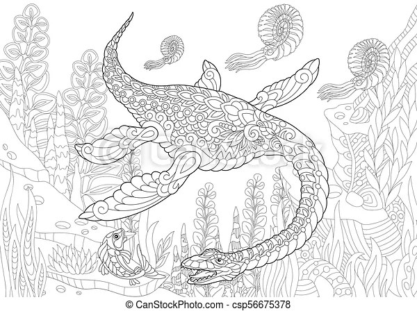 Extinct species. plesiosaurus dinosaur. Coloring page of