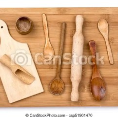 Kitchen Wooden Utensils Fall Curtains Flat Lay Of On The Cutting Board Csp51901470