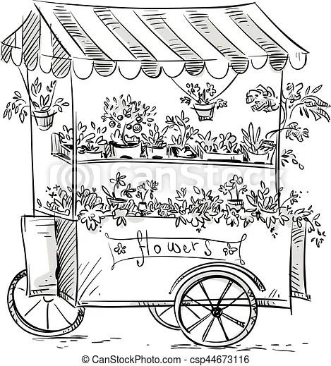 Flower stall, florist cart. vector illustration.