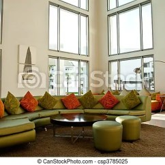 Bright Sofa Lebus Leona Green In Modern Lobby A With Orange Cushions Csp3785025