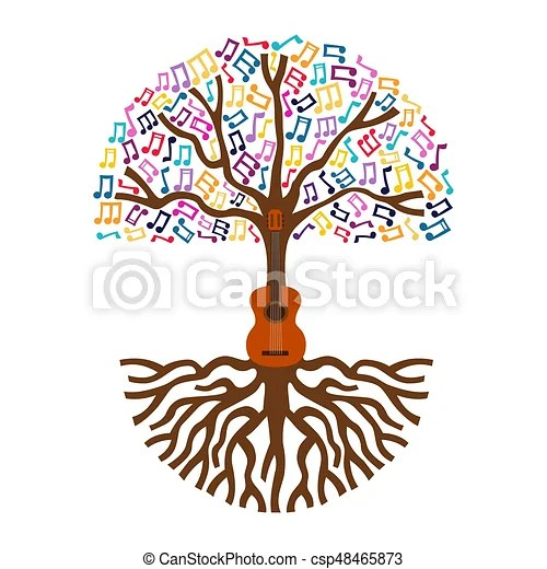 Guitar tree live music nature concept illustration Guitar