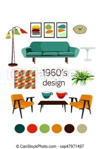 Interior design 1960. mid century modern furniture. mood ...