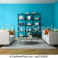 Living Room Glass Shelves Modern Dividers Interior Of With Shelf 3d Rendering Csp37442001