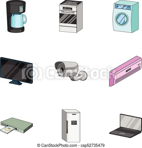 home kitchen equipment cabinet refinishing phoenix appliances cartoon icons in set collection for design and vector
