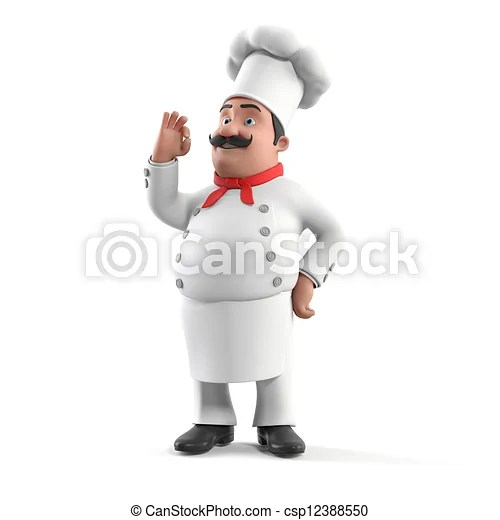 kitchen chief unique tools chef 3d rendered illustration of a csp12388550