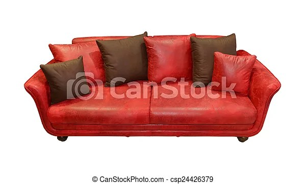 leather red sofa thomasville furniture bed couch with decorative pillows csp24426379