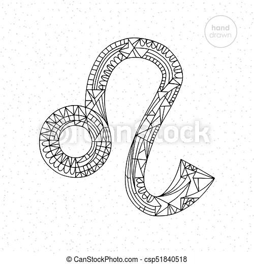 Lion zodiac sign. vector hand drawn horoscope leo