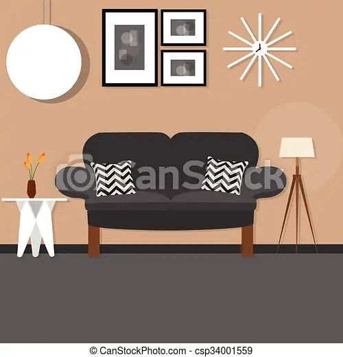 dark sofa in small living room what colour cushions for black leather with desk hanging and standing lamp brown wall csp34001559