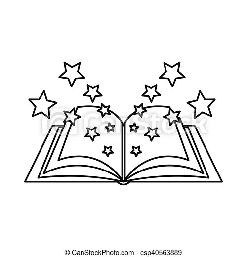 Magic book icon, outline style. Magic book icon in outline