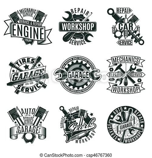 Monochrome car repair service logos set. Monochrome car
