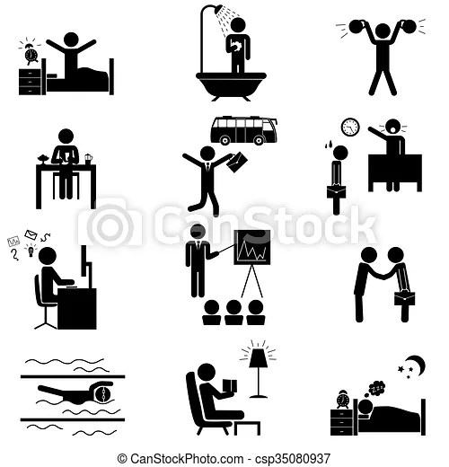 Office routine life icons. Office daily routine life