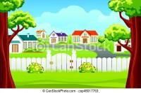 Outdoor backyard background cartoon illustration. Outdoor ...