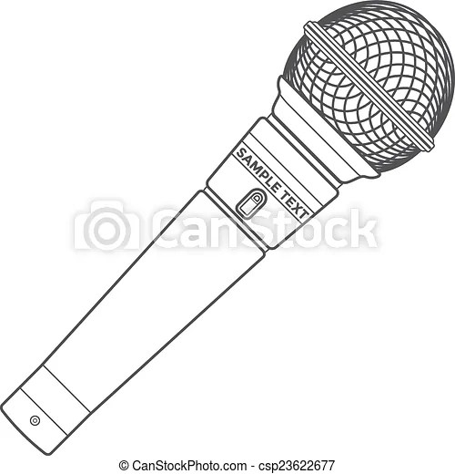 Vector dark grey color outline stage microphone device.