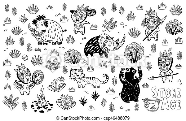 Outline stone age vector set. Outline drawing of cartoon