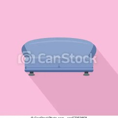Oval Sofa Brown Leather With Wooden Feet Icon Flat Style Illustration Of Csp57253858