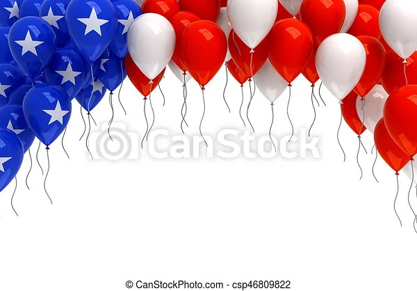 red white and blue balloons background