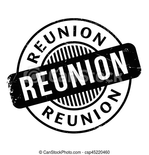 Reunion rubber stamp. grunge design with dust scratches
