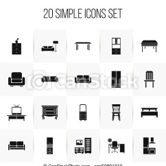 Sofa And More Simple Design For Small Living Room Set Of 20 Editable Furnishings Icons Includes Symbols Such As Davenport Wardrobe