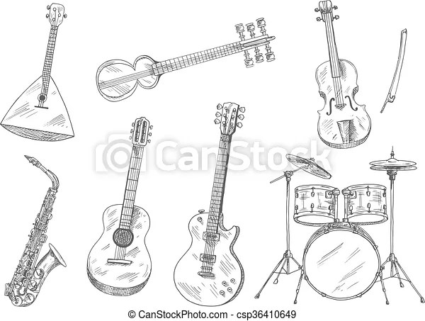 Sketchy musical instruments for arts design. Sketchy drum