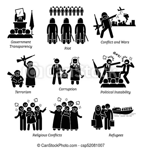 Social issues world problems pictogram icons