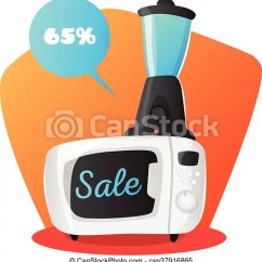 Kitchen And Mixer How Much Does It Cost To Replace Cabinet Doors Vector Microwave Oven Illustration In Cartoon Style Electronics Sale Concept