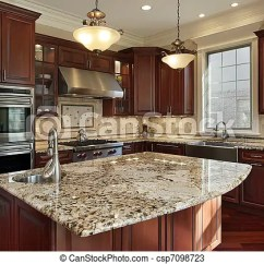 Granite Kitchens Corner Cabinets Kitchen 花岗岩 厨房 岛 Cabinetry 树木 樱桃 Csp7098723