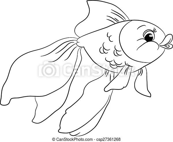 דג זהב, חמוד, תאר, ציור היתולי. חמוד, illustration., תאר