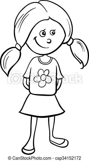 חמוד, ילדה, לצבוע. מצחיק, בית ספר, לצבוע, הזדקן, לבן, דוגמה, ציור היתולי, הזמן, ילדה שחורה, או