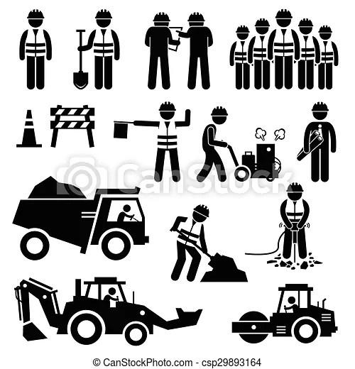 건설 직원, 길. 길, 세트, 일, pictogram, 원뿔, 직원, 불도저, 이것, team., 롤러