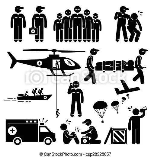 팀, 긴급 사태, 지팡이 숫자, 구출. 세트, 저금, pictogram, well., 인간