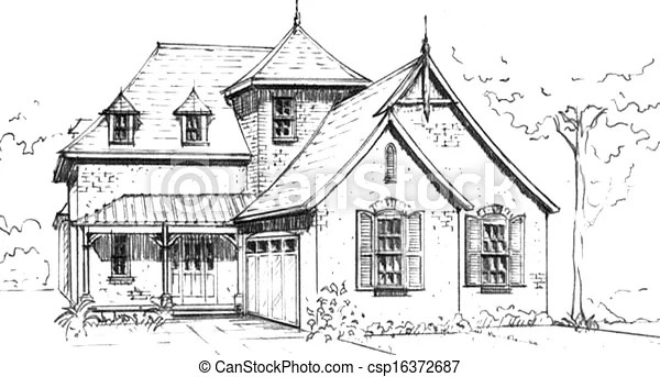 French country style house. Pencil drawing of an