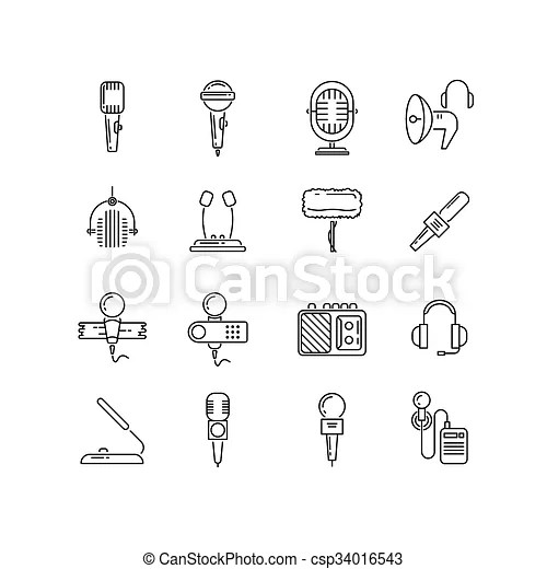 Microphone, speaker vector line icons. microphone device