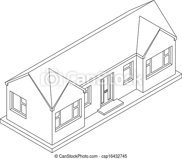 3d isometric bungalow. 3d isometric line drawing of a